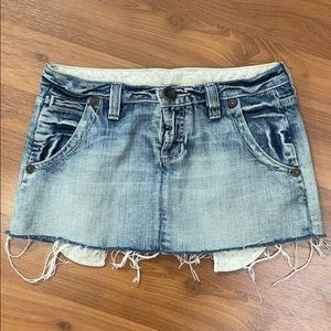 Guess Y2K Vintage Acid Wash Raw Edge Mini Denim